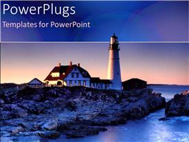 PowerPlugs: PowerPoint template with a sun set view of a light house on a rocky shore