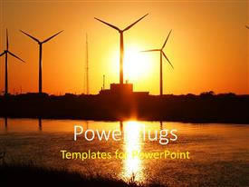 PowerPlugs: PowerPoint template with sun set view of lots of wind turbines beside a lake