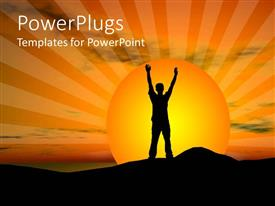 PowerPoint template displaying sun set view of a man with his hands up