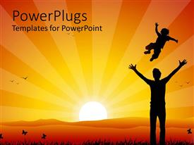 PowerPlugs: PowerPoint template with sun set view on a man playing with his child