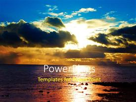 PowerPlugs: PowerPoint template with sun set view of an open sea with dark clouds