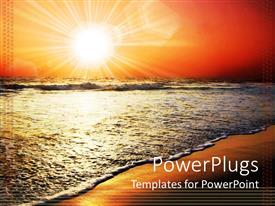 PowerPlugs: PowerPoint template with sun set view of the shores of a beach