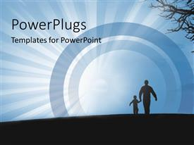 PowerPlugs: PowerPoint template with a sun set view of a silhouette of a man and his child