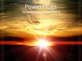 PowerPlugs: PowerPoint template with sun set view of the sun shinning brightly over a vast landscape
