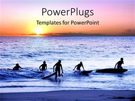PowerPlugs: PowerPoint template with sun set view of surfers coming out of an ocean