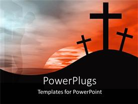PowerPlugs: PowerPoint template with sun set view of three crosses on a hilly landscape