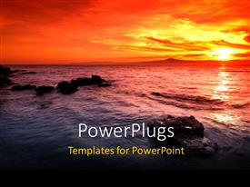 PowerPoint template displaying a sun set view of a wide open sea