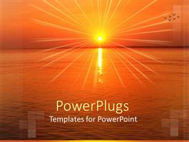 PowerPlugs: PowerPoint template with sun set view on a wide sea and birds flying