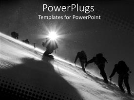 PowerPlugs: PowerPoint template with sun shining on figures climbing snowy mountain