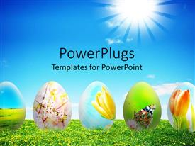 PowerPlugs: PowerPoint template with sunflower field with glow in blue sky with colorful easter eggs