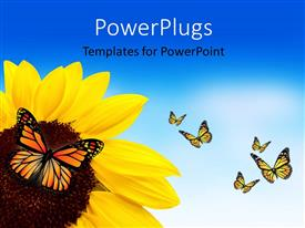 PowerPlugs: PowerPoint template with a sunflower with a lot of butterflies around it