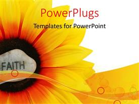 PowerPlugs: PowerPoint template with rock with word FAITH engraved on sun flower over white background