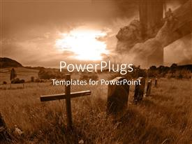 PowerPlugs: PowerPoint template with sunlight over old cementery with cross over concrete graves in field