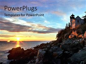 PowerPlugs: PowerPoint template with sunrise in horizon over Bass Harbor with beautiful building on mountain top