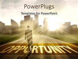 PowerPlugs: PowerPoint template with sunrise over city and business man on road to Opportunity