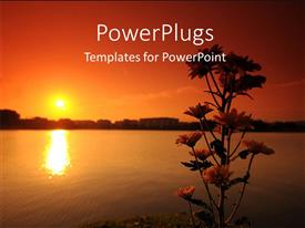 PowerPoint template displaying a sunset in the background with a lake