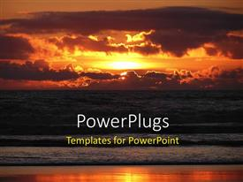 PowerPlugs: PowerPoint template with a sunset in the background with a lot of clouds