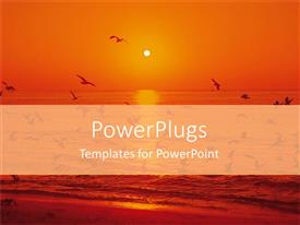 PowerPlugs: PowerPoint template with a sunset in the background of an ocean