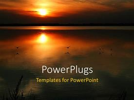 PowerPlugs: PowerPoint template with a sunset in the background with a sea in front