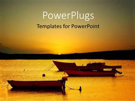 PowerPlugs: PowerPoint template with a sunset on a beach with boats in the sea