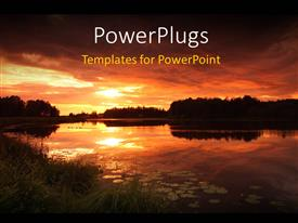 PowerPlugs: PowerPoint template with sunset in colorful cloudy sky over lake with leaves on water surface