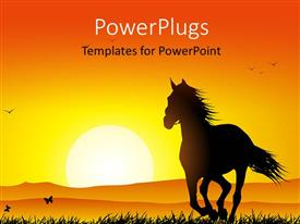 PowerPlugs: PowerPoint template with sunset in distance with silhouette of horse running in grass field