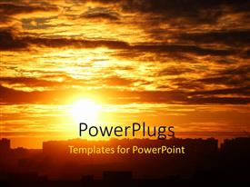 PowerPlugs: PowerPoint template with a sunset and a lot of clouds in a city