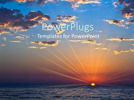 PowerPlugs: PowerPoint template with sunset over sea with clouds and emphasized light rays