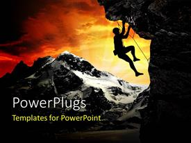 PowerPlugs: PowerPoint template with sunset over snow filled mountain with explorer climbing rock