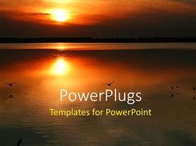 PowerPlugs: PowerPoint template with sunset over water with birds flying above water and sun in the background