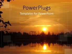 PowerPlugs: PowerPoint template with sunset scenery with trees and water and sun reflecting on water