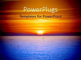 PowerPlugs: PowerPoint template with sunset with sea having sky