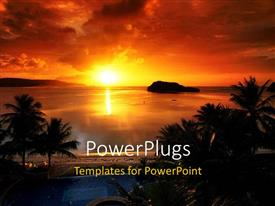 PowerPoint template displaying sunset view of a beach with many trees
