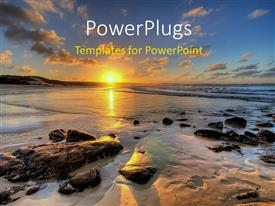 PowerPlugs: PowerPoint template with a sunset view of a beach shore with stones and sand