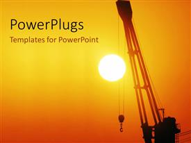 PowerPlugs: PowerPoint template with a sunset view of a crane held up in the air