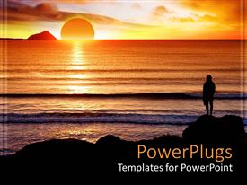 PowerPlugs: PowerPoint template with sunset view of a human standing on a beach
