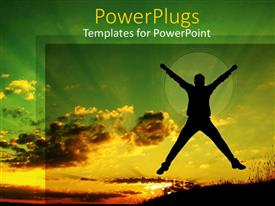 PowerPlugs: PowerPoint template with sunset view of a jumping human depiction with green and gold sky