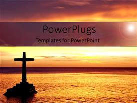 PowerPoint template displaying sunset view of a large cross on a river