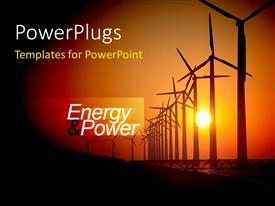 PowerPoint template displaying sunset view of lots of energy making wind turbines
