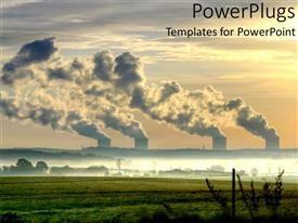 PowerPlugs: PowerPoint template with the sunset View with Nuclear power Stations
