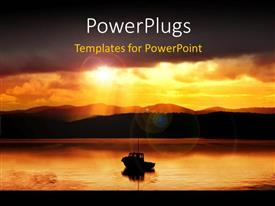 PowerPlugs: PowerPoint template with a sunset view of ship on an open sea