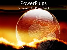 PowerPlugs: PowerPoint template with a sunset view of a transparent earth globe with dark clouds above