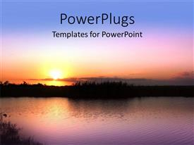 PowerPlugs: PowerPoint template with sunshine on horizon over lake with ripple on water surface