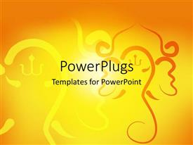 PowerPoint template displaying sunshine in yellow background with Hindu religious symbols