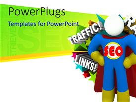 PowerPlugs: PowerPoint template with a 3D super hero character standing with some text behind him