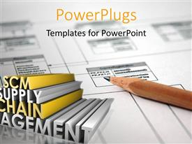 PowerPlugs: PowerPoint template with supply Chain Management SCM Industry keywords in 3D over white chart