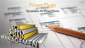 PowerPoint template displaying supply Chain Management SCM Industry keywords in 3D over white chart