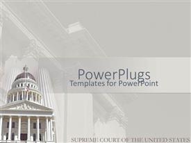 PowerPoint template displaying supreme court of the United States in white background