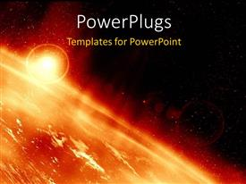 PowerPlugs: PowerPoint template with the surface of the sun along with many explosions