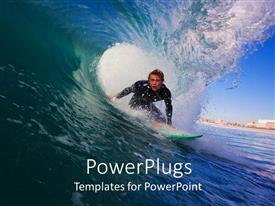 PowerPlugs: PowerPoint template with a surfer enjoying the waves in the sea